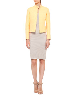 Akris punto Sleeveless Mixed-Knit Sheath Dress and Techno Tweed Zip Jacket
