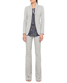 Akris punto Seersucker Blazer and Pants & Sunbathing-Print Blouse