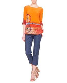 Akris punto Diving Board Tab-Sleeve Blouse & Fabricia Cropped Denim Pants
