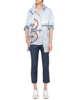 Akris punto Diving Board Printed Anorak, Popover Blouse & Cropped Denim Pants