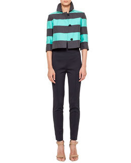 Akris punto Cropped Bold Stripe Jacket, Shutter-Pleat Tank & High-Waist Skinny Pants