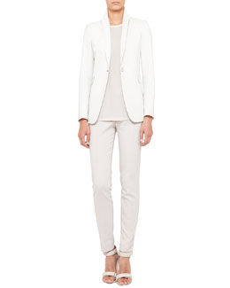 Akris punto Perforated Leather Jacket, Rubber-Trim Blouse & Techno-Cotton Pants
