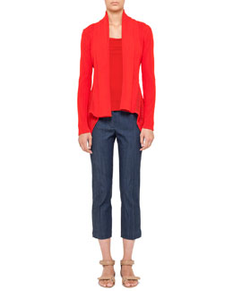 Akris punto Crochet-Peplum Cardigan, Square-Neck Tank & Cropped Denim Pants