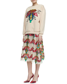 Christopher Kane Sequined Carnation Sweatshirt & Long Skirt