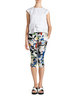 Jil Sander Cap-Sleeve Ruffle-Bottom Top and Arte Povera Cropped Pants