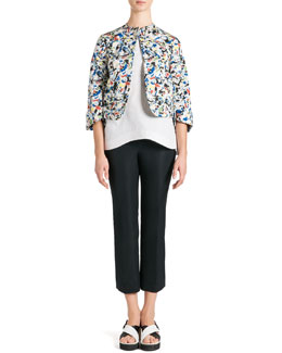 Jil Sander Arte Povera Printed Jacket, Seamed Side-Slit Blouse & Stretch Satin Ankle Pants