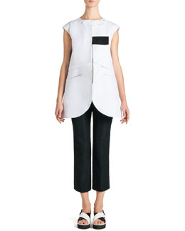 Jil Sander Long Sleeveless Tab Jacket and Cap-Sleeve Ruffle-Bottom Top