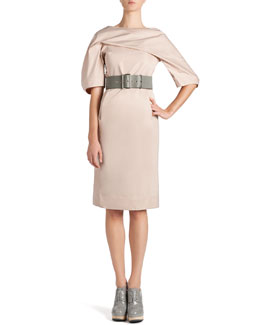 Jil Sander Techno-Duchesse Drape Dress and Wide Leather Grommet Belt