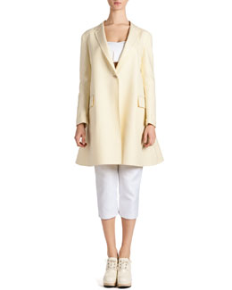Jil Sander Fluted Full-Back Jacket, Satin Bandeau Top & Cropped Satin Pants