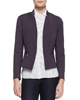 Rebecca Taylor Femme Zip-Pocket Suit Jacket & Cap-Sleeve Lace-Print Top