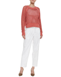 Rebecca Taylor Lattice-Stitch Cropped Knit Sweater and Pleated Poplin Cropped Easy Pants
