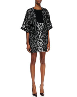 Missoni Short-Sleeve Logo Net Cardigan & Solid-Bodice Minidress