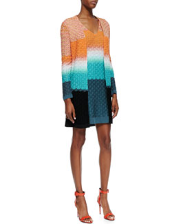 Missoni 3D Stitched Knit Long Cardigan & Cap-Sleeve Knit Dress