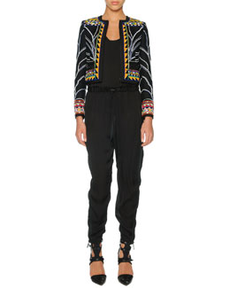 Emilio Pucci Tribal Beaded Zip Cardigan, Charmeuse Racerback Tank & Silk Harem Pants