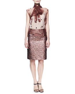 Lanvin Paillette Embroidered Tulle Blouse & Metallic Brocade Skirt