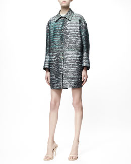 Stella McCartney Crocodile Jacquard Isabeli Jacket, Cap-Sleeve Tee & Zip-Front Crocodile Jacquard Skirt