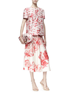 Stella McCartney Short-Sleeve Daisy Jacquard Top & Soft Pleated Floral Skirt