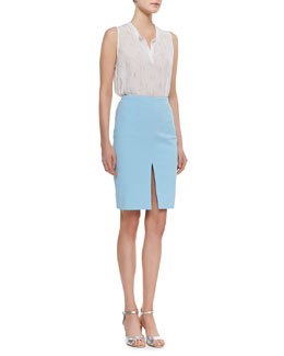 L'Agence Henley Sleeveless Top & Slim Skirt with Front Slit