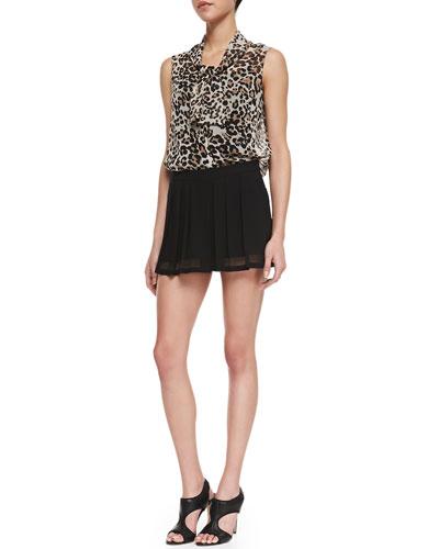 L'Agence Ascot-Neck Leopard-Print Chiffon Blouse & Mesh-Hem Flutter Shorts