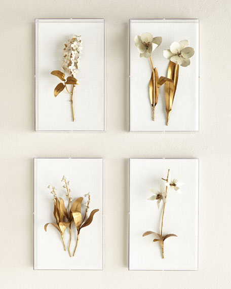Tommy Mitchell Original Gilded Tulip on White Linen