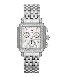 MICHELE Deco Diamond Watch Head & 7-Link Bracelet Strap