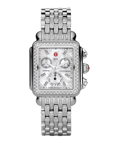 MICHELE Deco Diamond Watch Head & Taper 7-Link Bracelet Strap