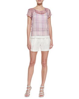 J Brand Ready to Wear Rhea Sheer Plaid Chiffon Blouse & Underhill Pleated Shimmery Shantung Shorts