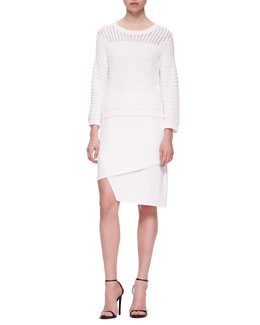J Brand Ready to Wear Marsha Squiggle Knit Sweater & Maryse Notched Crossover Skirt