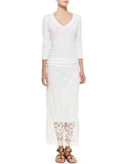 XCVI 3/4-Sleeve V-Neck Tee & Lynnea Crochet Skirt