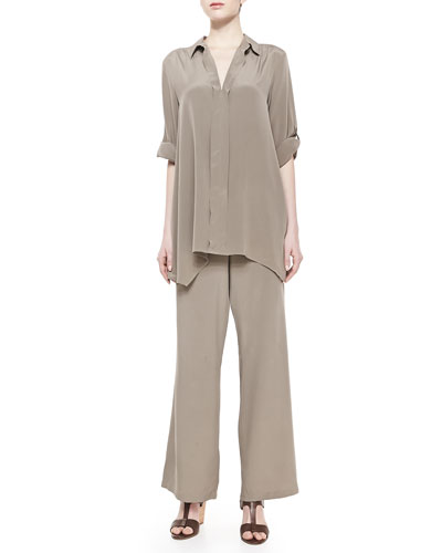 Go Silk Dolman-Sleeve Silk Tunic & Silk Wide-Leg Pants, Petite
