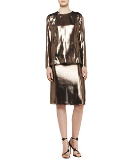 Lanvin Washed Lamé Kangaroo-Pocket Top, Skirt & Metallic Python Belt