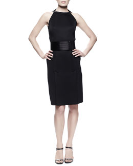 Lanvin Kick-Pleat Sheath Dress & Wide Grip-Strap Belt