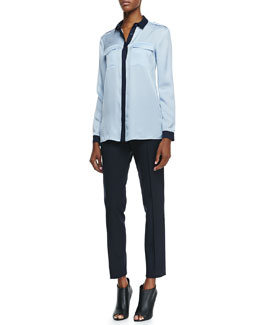Burberry London Silk Long-Sleeve Two-Tone Blouse & Straight-Leg Ankle Pants