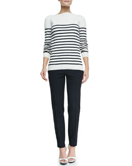 Burberry London Long-Sleeve Striped Boat-Neck Top & Straight-Leg Ankle Pants