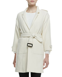 Burberry London 3/4-Sleeve Cashmere Tie Jacket & Knit Top with Keyhole Back