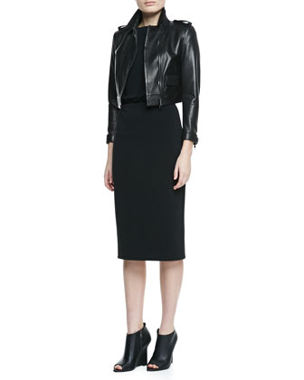 Cropped Leather Long-Sleeve Moto Jacket & Boat-Neck Lace-Back Dress
