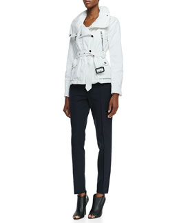 Burberry London Long-Sleeve Hideaway Utility Jacket & Straight-Leg Ankle Pants