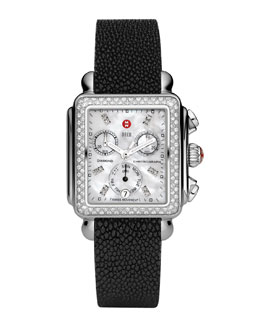 MICHELE Deco Diamond Watch Head & 18mm Black Stingray Strap