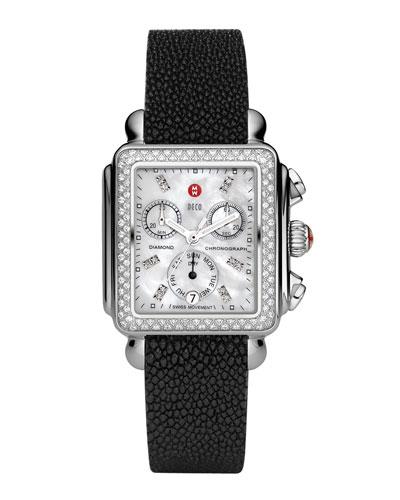Deco Diamond Watch Head & 18mm Black Stingray Strap