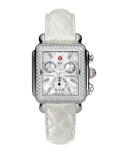 MICHELE Deco Diamond Watch Head & 18mm White Quilted Leather Strap