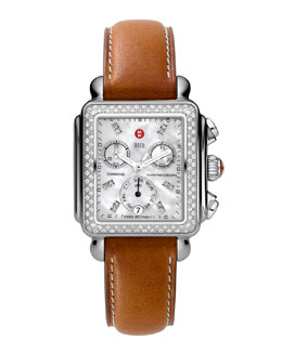 MICHELE Deco Diamond Watch Head & 18mm Saddle Leather Strap