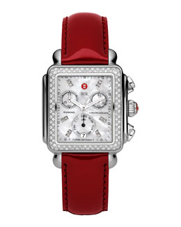 MICHELE Deco Diamond Watch Head & 18mm Scarlet Patent Strap
