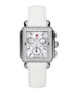 MICHELE Deco Diamond Watch Head & 18mm White Patent Strap