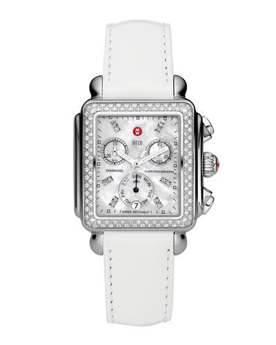 Deco Diamond Watch Head & 18mm White Patent Strap