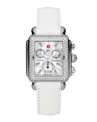 Deco Diamond Watch Head & 18mm White Patent Strap