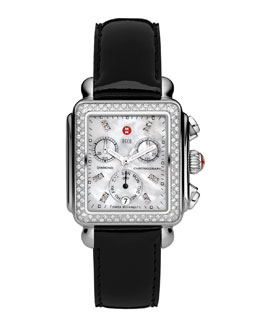 MICHELE Deco Diamond Watch Head & 18mm Black Patent Strap