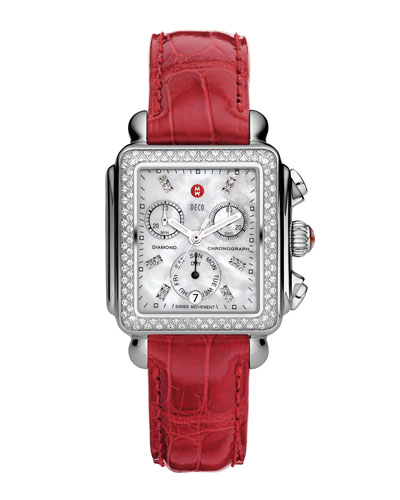 MICHELE Deco Diamond Watch Head & 18mm Garnet Alligator Strap