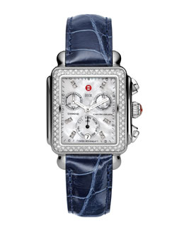 MICHELE Deco Diamond Watch Head & 18mm Navy Alligator Strap