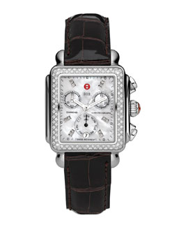 MICHELE Deco Diamond Watch Head & 18mm Espresso Alligator Strap