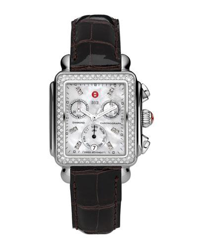 Deco Diamond Watch Head & 18mm Espresso Alligator Strap